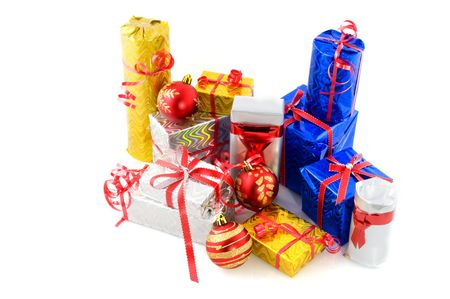 glance: Many luxury christmas presents wrapped in glance paper with ribbons Stock Photo