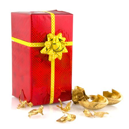 speckle: Luxury present in red with golden ribbon ald bow