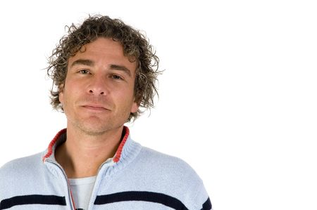 Young adult man with curly hair casual dressed Stock Photo - 3868942