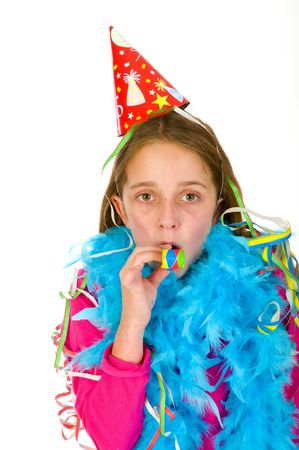 feasting:  Little girl is feasting at a party Stock Photo
