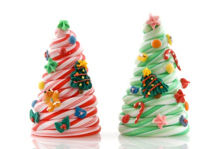 gingerbreadman: two candy christmas trees in red and green