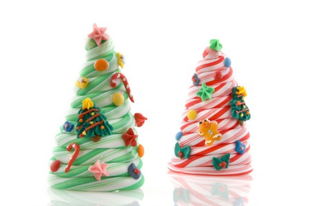 gingerbreadman: christmas candy trees with decoration