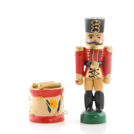 christmas military: Wooden toys a military drummer for christmas