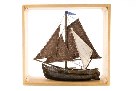 cadre: Typical Dutch boat in wooden cadre