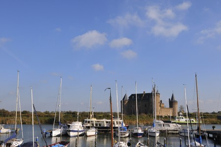 Castle and recreational harbor in Holland Stock Photo - 4043346