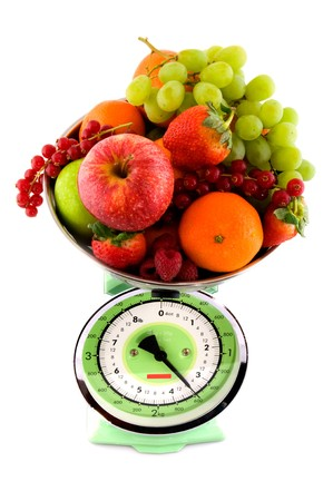 Kitchen scale with a diversity fruit for diet Stock Photo - 4044477