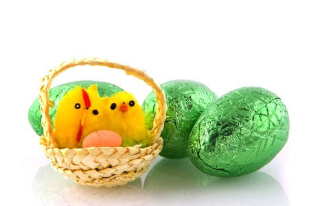 Easter eggs with little chickens in a basket photo