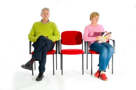 Elderly people in the waiting room by the doctor Stock Photo