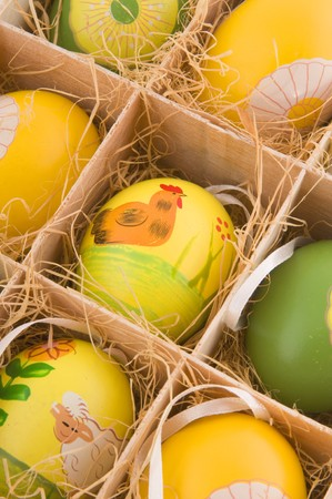 Decorative painted easter eggs in box photo