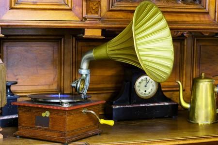 antique phonograph: phonograph in antique interior