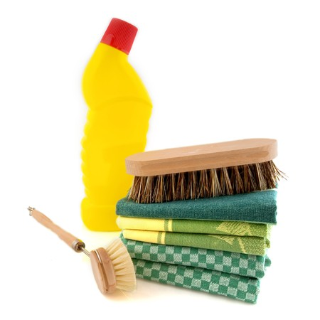 bleach: cleaning good with scrubbing brush and bleach Stock Photo