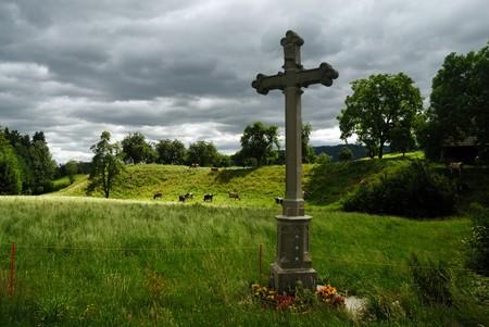 memorial cross: Memorial croce in Svizzera Archivio Fotografico