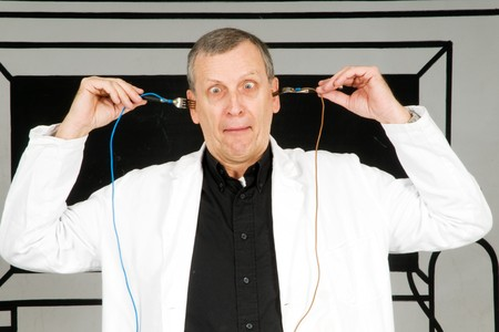 electroshock: Nutty professor with electricity experiment