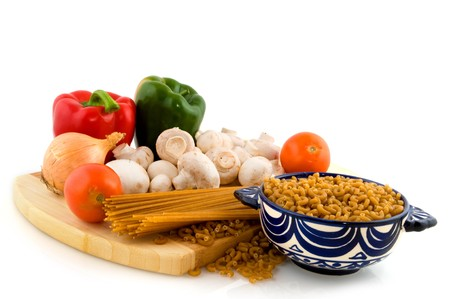 Ingredients for vegetatian whole meal pasta Stock Photo - 4467622