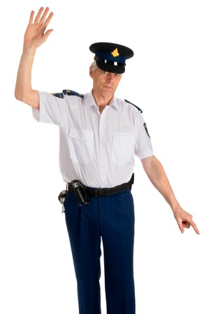 Traffic police man is giving the stop sign Stock Photo