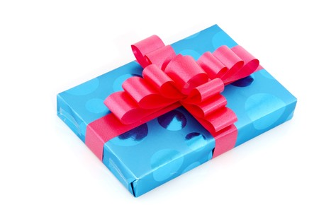wrapped present: Luxury wrapped present in blue and pink Stock Photo