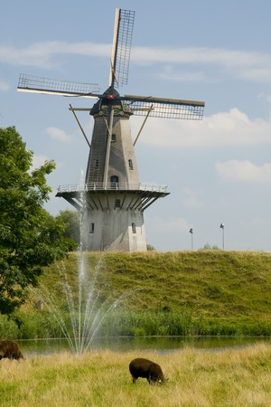 Windmill Nooit gedagt in Woudrichem Holland Stock Photo - 4508896