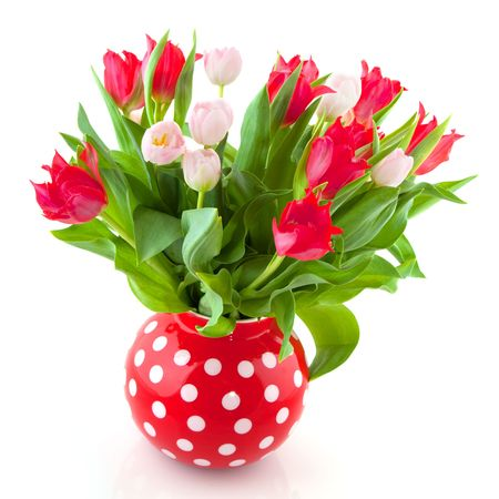 speckles: cheerful bouquet tulips in red and pink in speckles vase