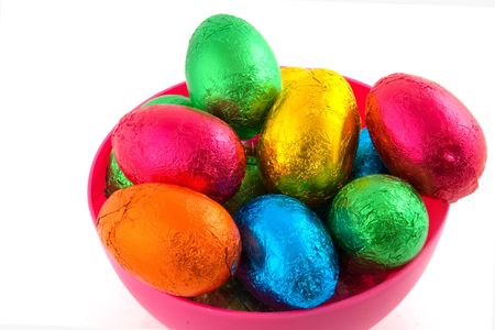 colorful easter eggs in a pink bowl photo