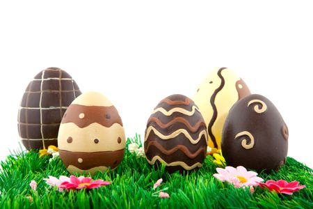 chocolate easter eggs isolated over white