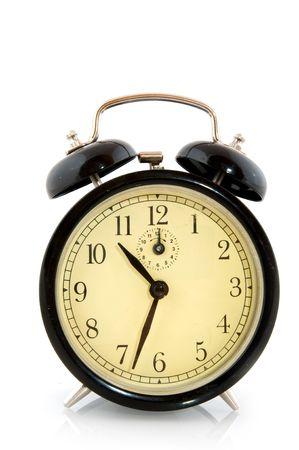 Black vintage alarm clock with big bells