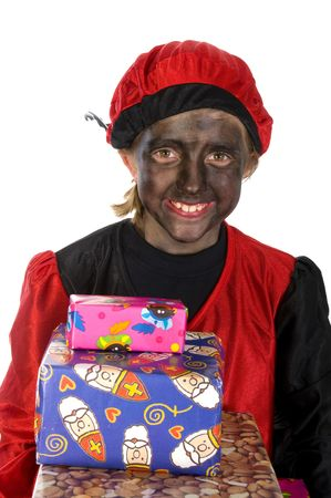 Girl is playing black Piet from Holland photo