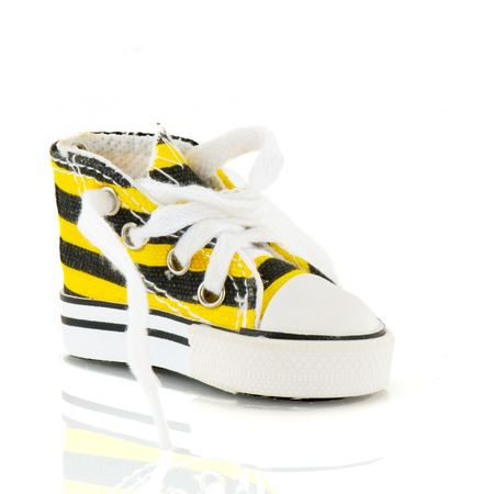 fashion basketball shoe in black and yellow stripes Stock Photo - 4635200