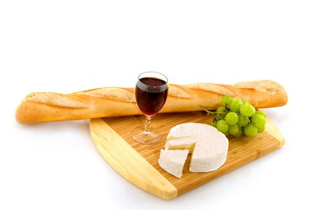 French cheese with bread red wine and grapes Stock Photo