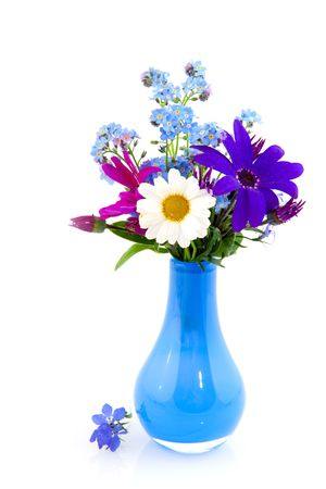 plucked: vase with cheerful bouquet of plucked flowers