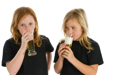 Young children are drinking alcohol