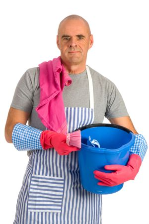 houseman: Houseman is cleaning the house with apron and tools