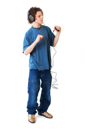 Young boy is listening to the music photo