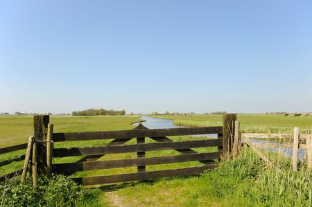 Dutch landscape with fence in polder Stock Photo - 4880469
