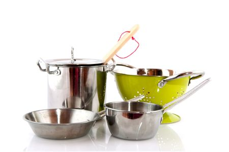 pots and pans: kitchen pots and pans and colander
