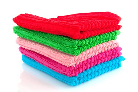 toweling: colorful towels isolated over white