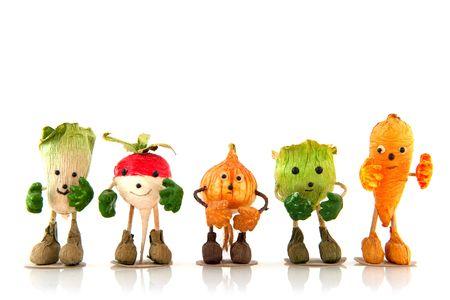 caras chistosas: hortalizas divertido con las manos, los pies y la cara