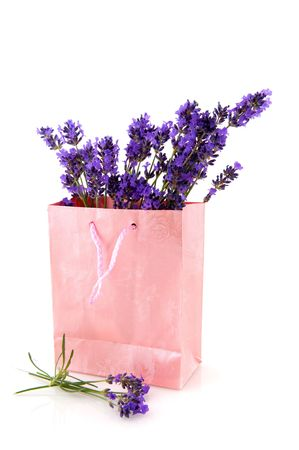 paperbag: Lavender from the Provence in pink paperbag isolated over white Stock Photo