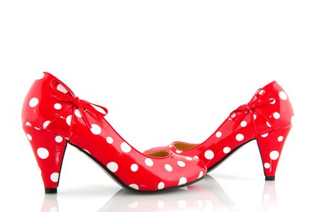 speckles: Red speckles lady shoes with stiletto heels Stock Photo