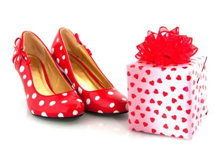 wrapped present: shoes with luxury wrapped present