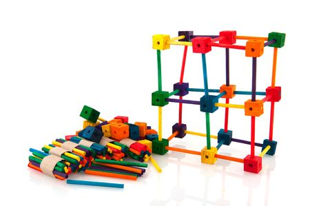 making hole: colorful construction made by a child Stock Photo