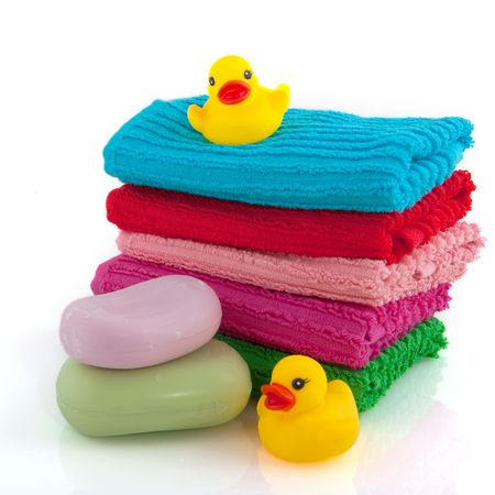 towels with soap and plastic ducks Stock Photo - 5128221