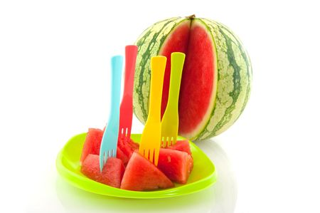 Whole melon with prepared melon on a plate Stock Photo - 5163800
