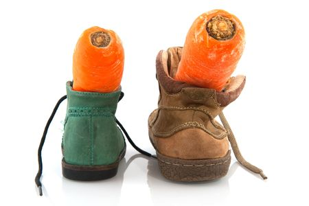 Shoes with carrots for the horse of Sinterklaas photo