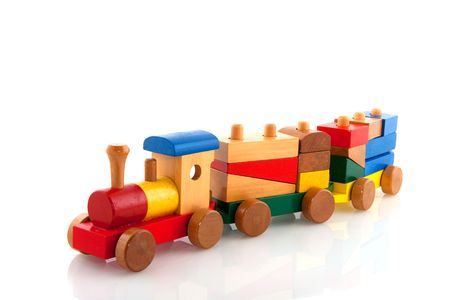 wood block: Old wooden train
