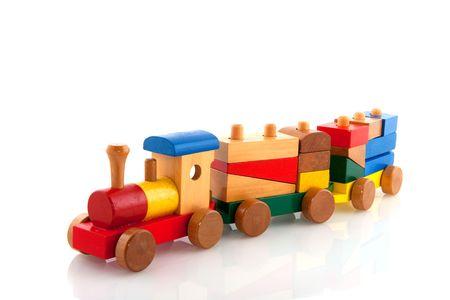 jouet: Vieux train en bois Banque d'images