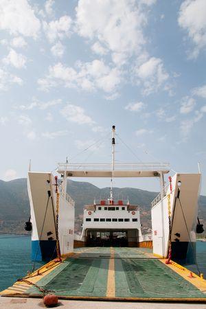 ferryboat: Greek ferry in harbor Stock Photo