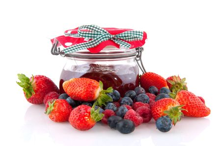 Home made fruit jam from different kind of fruits in glass pots photo