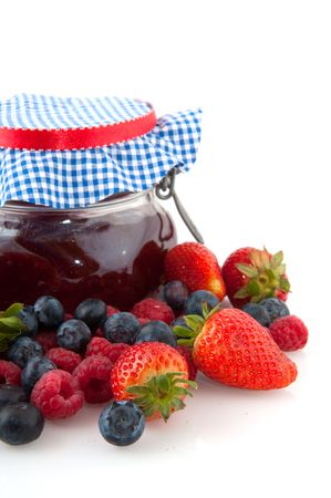 Home made fruit jam from different kind of fruits in glass pots Stock Photo - 5199551