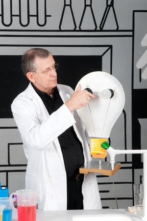 Nutty professor is testing electricity in the science laboratory Stock Photo - 5187672