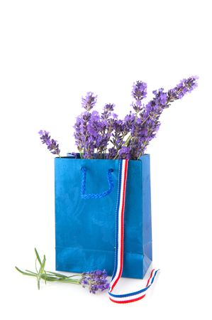 bouquet French lavender flowers in blue paper bag photo
